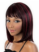 cheap -Synthetic Wig Straight Burgundy Bob Haircut Synthetic Hair 14 inch Women / African American Wig / With Bangs Burgundy Wig Women's Mid Length Capless