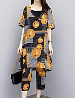 cheap -Women's Going out Basic / Street chic Cotton Loose Long Set - Geometric, Print High Waist Pant Deep V / Summer