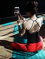 Недорогие -Жен. Глубокий V-образный вырез Открытая спина / На бретелях Йога Вверх - Черный, Серый, Красный Виды спорта Сплошной цвет Безрукавка Бег, Фитнес, Разрабатывать Спортивная одежда / Эластичность