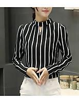 economico -Blusa Per donna Vintage / Essenziale A pieghe / Nappa / Collage, A strisce