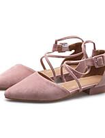 baratos -Mulheres Sapatos Camurça Verão Conforto Saltos Salto Baixo Branco / Preto / Rosa claro