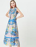 Недорогие -Жен. Классический Оболочка Платье - Цветочный принт Макси