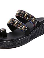 Недорогие -Жен. Обувь Полиуретан Лето Босоножки Тапочки и Шлепанцы Микропоры Черный