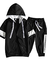 cheap -Men's Hoodie / Activewear Set - Solid Colored / Color Block / Letter, Lace up / Print