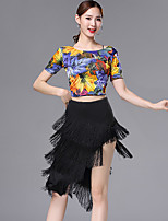 cheap -Latin Dance Outfits Women's Training / Performance Modal Pattern / Print / Tassel Short Sleeve High Skirts / Top