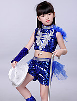 cheap -Jazz Outfits Girls' Performance Spandex Ruching / Paillette Sleeveless Dropped Top / Pants