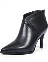 cheap -Women's Shoes Nappa Leather Fall & Winter Comfort Boots Stiletto Heel Black / Wine