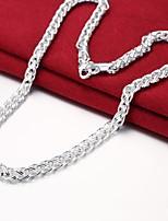 baratos -Homens Colares em Corrente - Prata Chapeada Simples, Básico Prata 50 cm Colar 1pç Para Diário, Trabalho