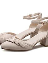 Недорогие -Жен. Обувь Замша Лето Удобная обувь Обувь на каблуках На толстом каблуке Черный / Розовый / Миндальный
