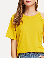cheap -Women's Cotton T-shirt - Solid Colored