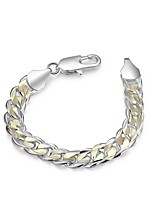 cheap -Men's Thick Chain / Single Strand Chain Bracelet - Silver Plated Snake Simple, Basic Bracelet Silver For Daily / Work