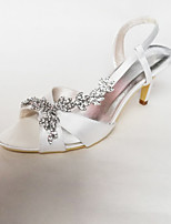 cheap -Women's Shoes Satin Spring & Summer Slingback Wedding Shoes Stiletto Heel Round Toe Rhinestone White / Party & Evening