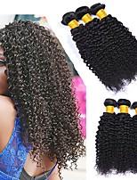 Недорогие -3 Связки Малазийские волосы Kinky Curly Натуральные волосы Человека ткет Волосы / One Pack Solution / Накладки из натуральных волос 8-28 дюймовый Ткет человеческих волос
