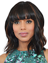 cheap -Synthetic Wig Wavy Black / Blonde Bob Haircut Synthetic Hair 14 inch Women / African American Wig / With Bangs Black / Blonde Wig Women's Mid Length Capless