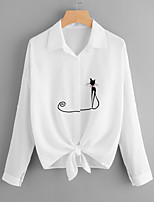 cheap -Women's Basic Cotton Shirt - Animal Cat, Embroidered Shirt Collar / Spring