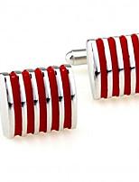 baratos -Cubóide Vermelho Botões de Punho Cobre Bandeira Formal / Fashion Homens Jóias de fantasia Para Formal / Profissional