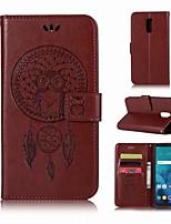 Недорогие -Кейс для Назначение LG LG Q7 Кошелек / Бумажник для карт / со стендом Чехол Сова Твердый Кожа PU для LG Q7