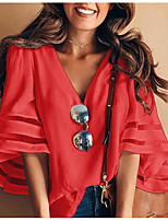 economico -T-shirt Per donna Tinta unita Cotone