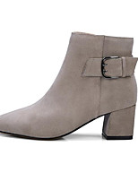 cheap -Women's Shoes Nappa Leather Fall / Winter Comfort / Fashion Boots Boots Chunky Heel Black / Light Grey / Dark Brown