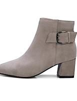 Недорогие -Жен. Обувь Наппа Leather Осень / Зима Удобная обувь / Модная обувь Ботинки На толстом каблуке Черный / Светло-серый / Темно-коричневый