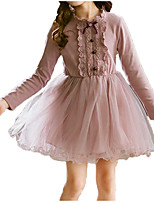 cheap -Kids Girls' Sweet / Street chic Going out Solid Colored Lace / Bow Long Sleeve Knee-length / Above Knee Dress / Cotton