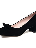 baratos -Mulheres Sapatos Camurça Primavera Conforto Saltos Salto Robusto Preto / Cinzento / Rosa claro