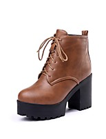 cheap -Women's Shoes PU(Polyurethane) Fall & Winter Fashion Boots Boots Chunky Heel Round Toe Booties / Ankle Boots Black / Beige / Brown