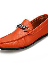 abordables -Homme Chaussures Faux Cuir / Polyuréthane Eté Moccasin Mocassins et Chaussons+D6148 Blanc / Noir / Orange