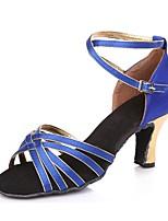 cheap -Women's Latin Shoes Satin Sandal Cuban Heel Customizable Dance Shoes Black / Gold / Blue / Black / Red