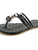 Недорогие -Жен. Обувь Полиуретан Лето Удобная обувь Тапочки и Шлепанцы На плоской подошве Белый / Черный / Пурпурный
