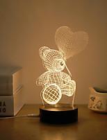 preiswerte -1set 3D Nachtlicht Warmes Weiß USB Kreativ / Stress und Angst Relief / Sicherheit 5 V