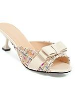 economico -Per donna Scarpe Lino Primavera estate Comoda Tacchi Heelotypic Heel Bianco / Nero / Tessuto almond