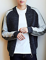 cheap -Men's Long Sleeve Cardigan - Color Block / Letter Stand