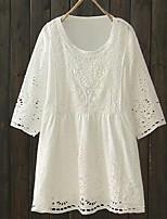 economico -t-shirt in lino da donna - girocollo tinta unita