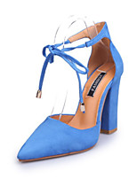 cheap -Women's Shoes Suede Spring & Summer D'Orsay & Two-Piece Heels Chunky Heel Pointed Toe Ribbon Tie Pink / Light Blue / Burgundy / Party & Evening