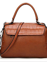cheap -Women's Bags PU(Polyurethane) Shoulder Bag Zipper Red / Dark Brown / Wine