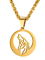 cheap -Men's Rope Pendant Necklace - Stainless Steel Animal, Wolf Fashion Gold, Silver 55 cm Necklace 1pc For Gift, Daily