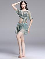 abordables -Danza del Vientre Accesorios Mujer Rendimiento Licra Fruncido Manga Corta Cintura Baja Faldas / Top