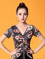 cheap -Ballroom Dance Tops Women's Performance Ice Silk Pattern / Print / Ruching Short Sleeve Top