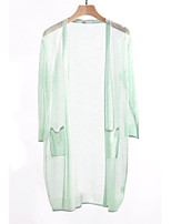 cheap -Women's Going out Long Sleeve Long Cardigan - Solid Colored V Neck