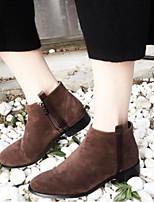 Недорогие -Жен. Обувь Замша Наступила зима Ботильоны Ботинки На низком каблуке Круглый носок Ботинки Черный / Темно-коричневый