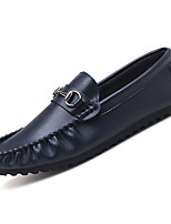 cheap -Men's Moccasin Nappa Leather / PU(Polyurethane) Fall Loafers & Slip-Ons Black / Brown / Blue