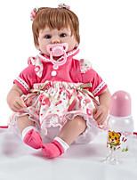Недорогие -FeelWind Куклы реборн Девочки 18 дюймовый как живой, Ручные прикладные ресницы, Искусственные имплантации Голубые глаза Детские Девочки Подарок / Естественный тон кожи / Головка дискеты
