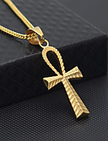 cheap -Men's Cuban Link Pendant Necklace / Chain Necklace - Stainless Cross Stylish, European, Hip-Hop Cool Gold 60 cm Necklace Jewelry 1pc For Gift, Street