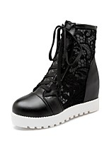 cheap -Women's Shoes Synthetics Spring & Summer Fashion Boots Boots Flat Heel Round Toe White / Black / Almond / Party & Evening