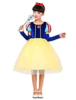 cheap -Princess Costume Girls' Halloween Carnival Children's Day Festival / Holiday Halloween Costumes Outfits Yellow Solid Colored Halloween Halloween