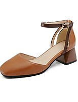 cheap -Women's Shoes PU(Polyurethane) Spring & Summer Comfort Heels Chunky Heel Beige / Light Yellow / Dark Brown