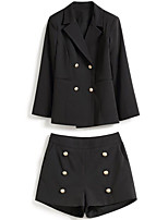 cheap -women's going out suits-solid colored peter pan collar