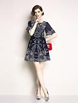 abordables -Mujer Chic de Calle Línea A Vestido - Bordado, Floral Sobre la rodilla