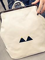 Недорогие -Жен. Мешки холст рюкзак Молнии Белый / Черный
